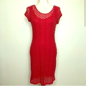 Red knit body con